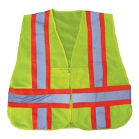 OPG Adjustable High Visibility Green 5 Point Class 2 Tear-Away Vest with Full Mesh Body