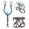 Petzl VIA FERRATA Kit with ELIOS, SCORPIO VERTIGO, and PANDION Harness sz 2